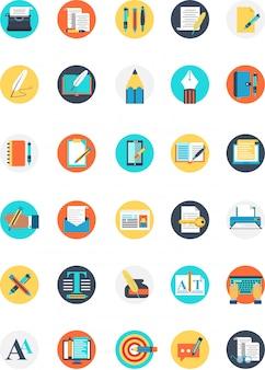 Set di icone di scrittore con molti colori e tipo