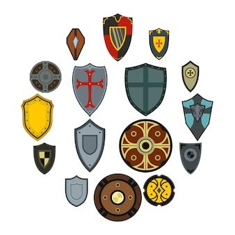 Set di icone di scudi, stile piano