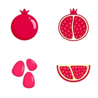 Set di icone di semi di succo di melograno