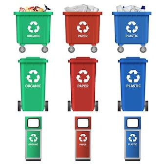 Set di icone di separazione cestino