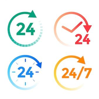 Set di icone di servizio 24 ore al giorno