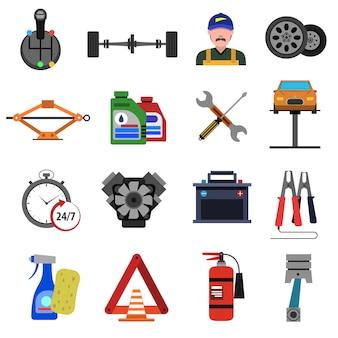 Set di icone di servizio auto piatta