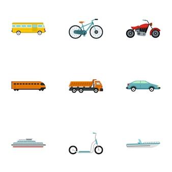 Set di icone di servizio auto, stile piano