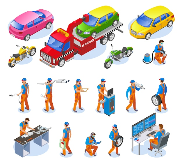 Set di icone di servizio auto