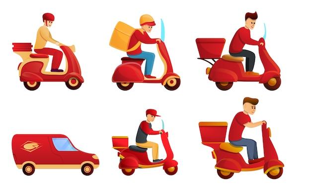 Set di icone di servizio consegna cibo