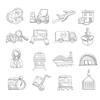 Set di icone di servizio di logistica e consegna
