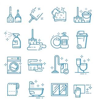Set di icone di servizio di pulizia con stile di contorno