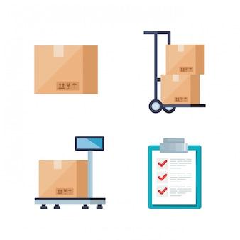 Set di icone di servizio logistico di consegna