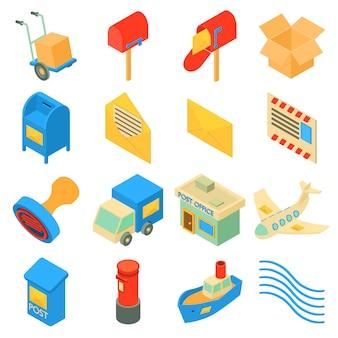 Set di icone di servizio poste. l'illustrazione isometrica di 16 icone di servizio delle poste ha messo le icone di vettore per il web