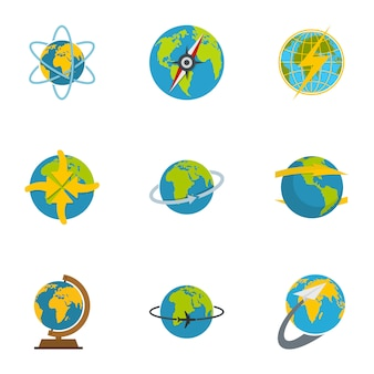 Set di icone di sfera, stile piano