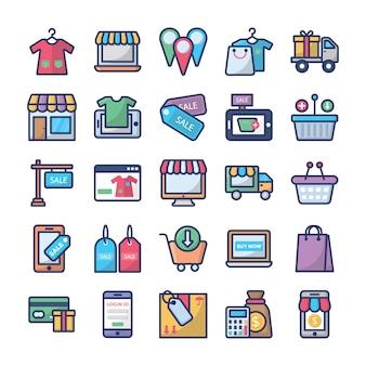 Set di icone di shopping e commercio