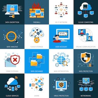 Set di icone di sicurezza di rete