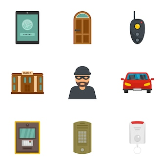Set di icone di sicurezza finanziaria, stile piano