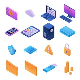 Set di icone di sicurezza firewall, stile isometrico