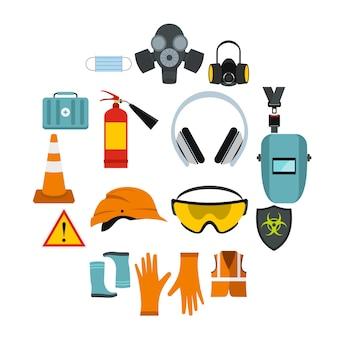 Set di icone di sicurezza, stile piano