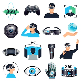 Set di icone di simulazione di visualizzazione di realtà virtuale