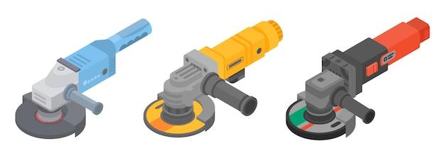 Set di icone di smerigliatrice angolare. insieme isometrico delle icone di vettore della smerigliatrice angolare per il web design isolato su fondo bianco