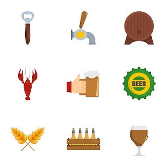 Set di icone di snack bar, stile piano