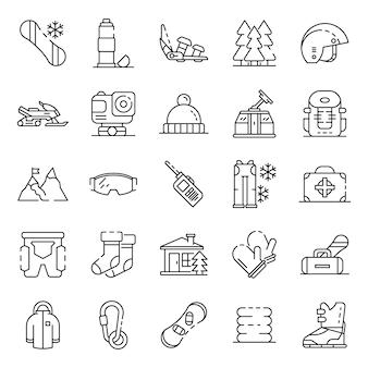 Set di icone di snowboard attrezzature. insieme del profilo delle icone di vettore dell'attrezzatura di snowboard