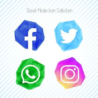 Set di icone di social media creativo di cristallo