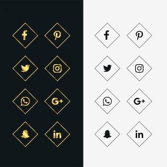 Set di icone di social media d'oro e nero