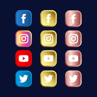 Set di icone di social media in oro e oro rosa gradienti