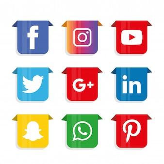 Set di icone di social media. logo