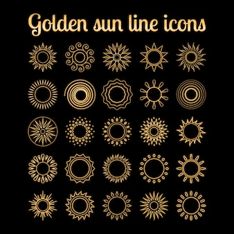 Set di icone di sole sottile linea dorata