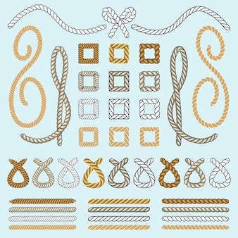 Set di icone di spazzole di corda