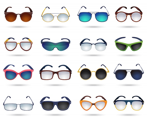 Set di icone di specchio riflessione moda occhiali da sole
