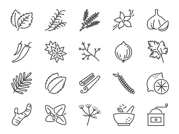 Set di icone di spezie ed erbe.
