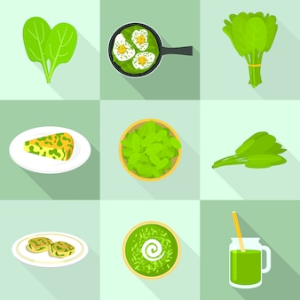 Set di icone di spinaci, stile piatto
