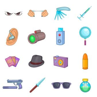 Set di icone di spionaggio e sicurezza