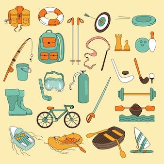 Set di icone di sport e divertimento