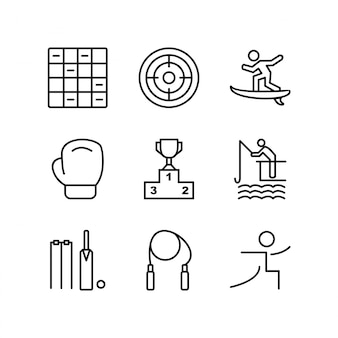 Set di icone di sport e giochi per uso personale e commerciale