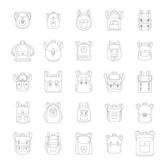 Set di icone di sport scuola zaino