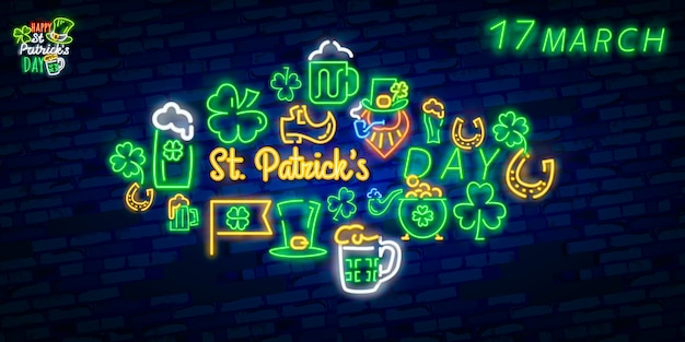 Set di icone di st. patrick's day isolato.