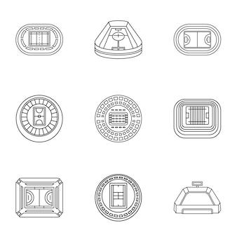 Set di icone di stadia, struttura di stile