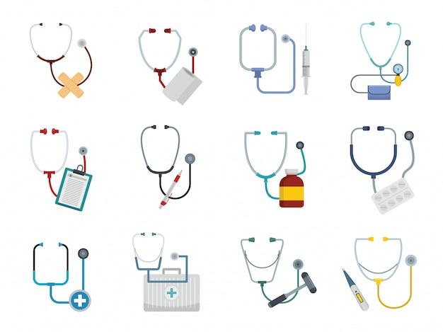 Set di icone di stetoscopio phonendoscope