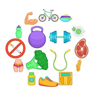 Set di icone di stile di vita sano, stile cartoon