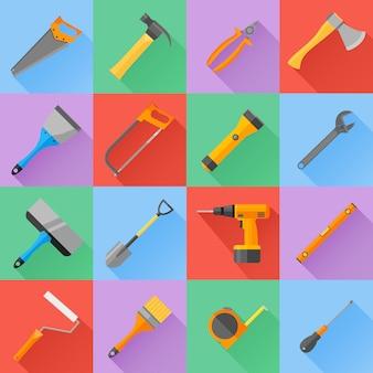 Set di icone di stile piano di strumenti di costruzione.