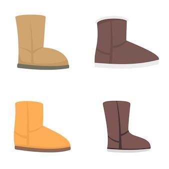 Set di icone di stivali ugg