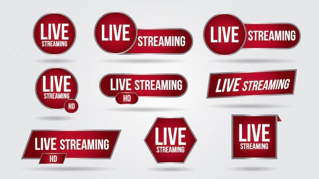 Set di icone di streaming video in diretta logo tv notizie banner interfaccia. simboli rossi inferiore terzo modello