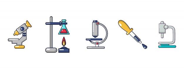 Set di icone di strumenti chimici. l'insieme del fumetto delle icone di vettore degli strumenti chimici ha messo isolato