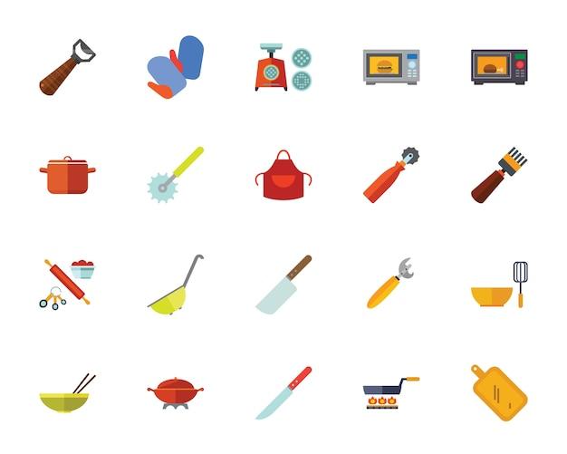Set di icone di strumenti di cucina