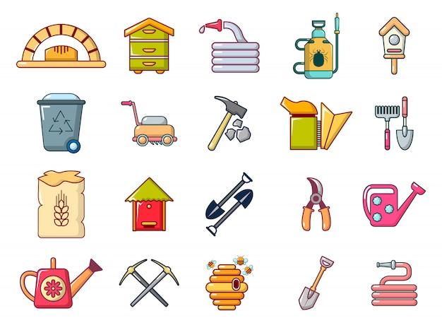 Set di icone di strumenti di fattoria. l'insieme del fumetto delle icone di vettore degli strumenti dell'azienda agricola ha isolato