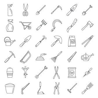 Set di icone di strumenti di giardinaggio di fattoria