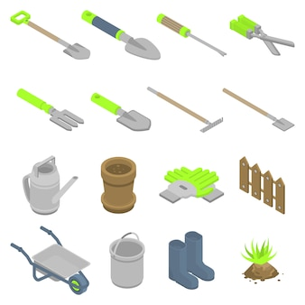 Set di icone di strumenti di giardinaggio. l'insieme isometrico degli strumenti di giardinaggio vector le icone per web design isolato su fondo bianco