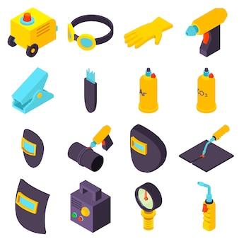Set di icone di strumenti di saldatura. un'illustrazione isometrica di 16 icone degli strumenti della saldatura ha messo le icone di vettore per il web