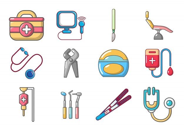Set di icone di strumenti medici. l'insieme del fumetto delle icone di vettore degli strumenti medici ha messo isolato